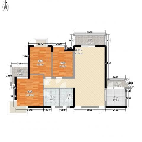万宁万利隆花园3室1厅2卫1厨120.00㎡户型图