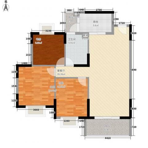 星晖园3室1厅1卫1厨125.00㎡户型图