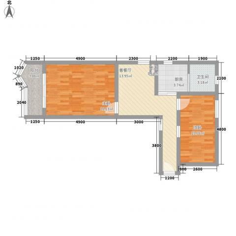 彭浦新村2室1厅1卫1厨60.00㎡户型图