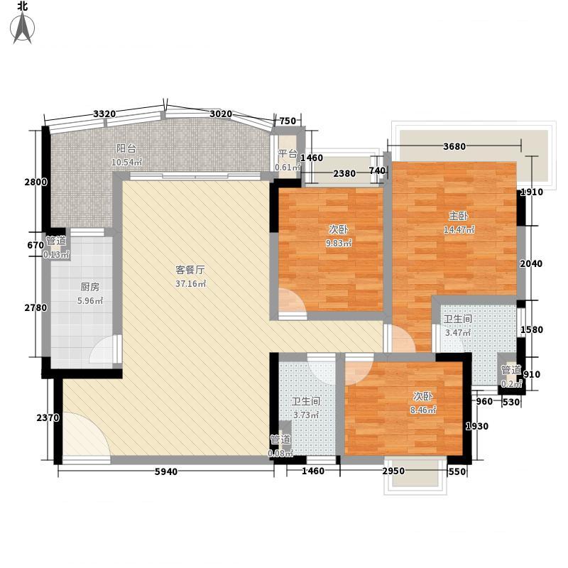 恒大城四期124.00㎡四期4号楼标准层02户型3室2厅2卫1厨