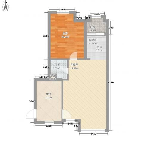 满庭芳花园1室0厅1卫0厨63.00㎡户型图