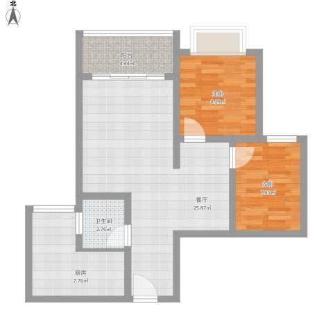 璧山金科中央公园城2室1厅1卫1厨83.00㎡户型图