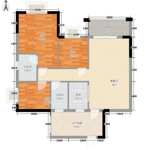 汇侨新城3室1厅2卫1厨82.76㎡户型图