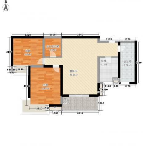 纯翠香山2室1厅1卫1厨100.00㎡户型图