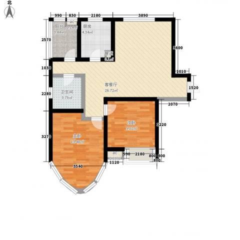 纯翠香山2室1厅1卫1厨90.00㎡户型图