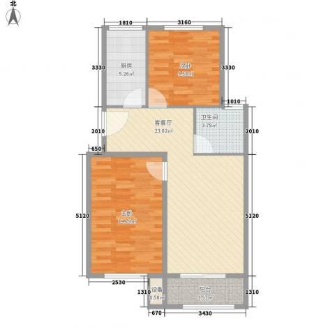 凯瑞国际2室1厅1卫1厨85.00㎡户型图