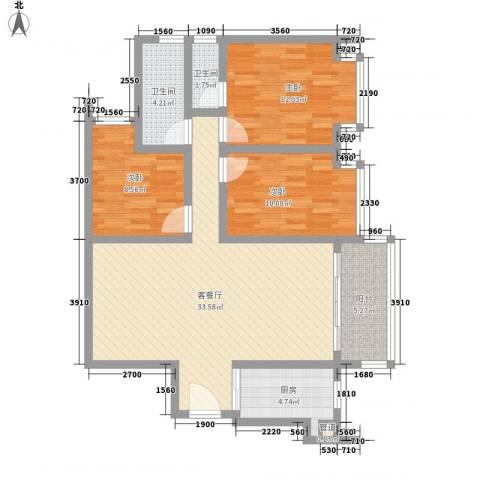 瓦窑排村委统建楼3室1厅2卫1厨117.00㎡户型图