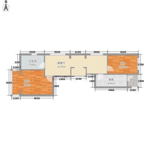 五星国际城2室1厅1卫1厨98.00㎡户型图