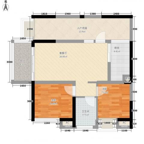 世纪明园2室1厅1卫1厨75.00㎡户型图