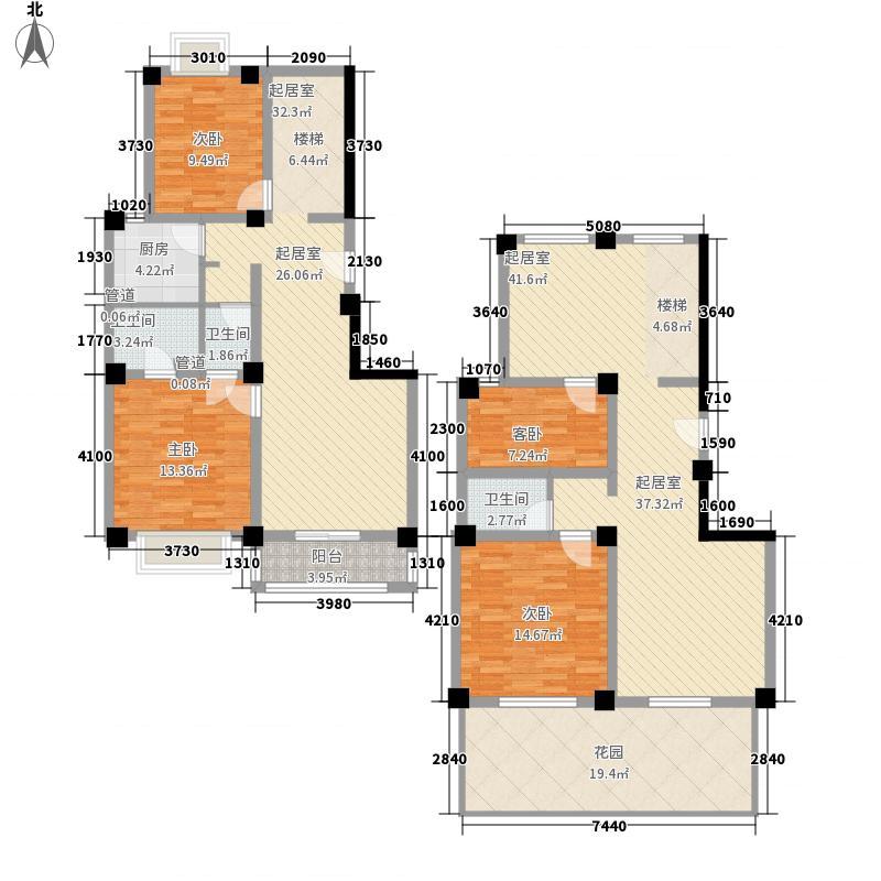 曦华源114.74㎡B型复式户型4室4厅3卫2厨