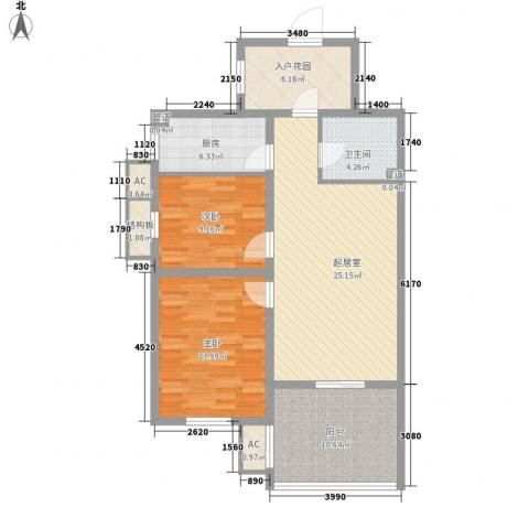 星光城2室0厅1卫1厨107.00㎡户型图