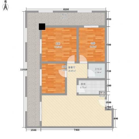 海吉星星世界3室1厅1卫1厨126.00㎡户型图