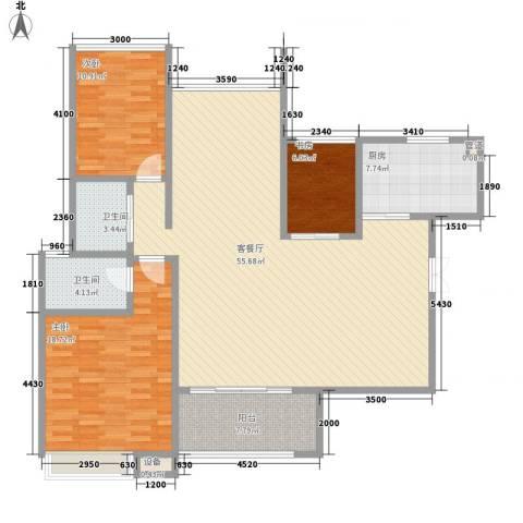 协信天骄俊园3室1厅2卫1厨128.00㎡户型图