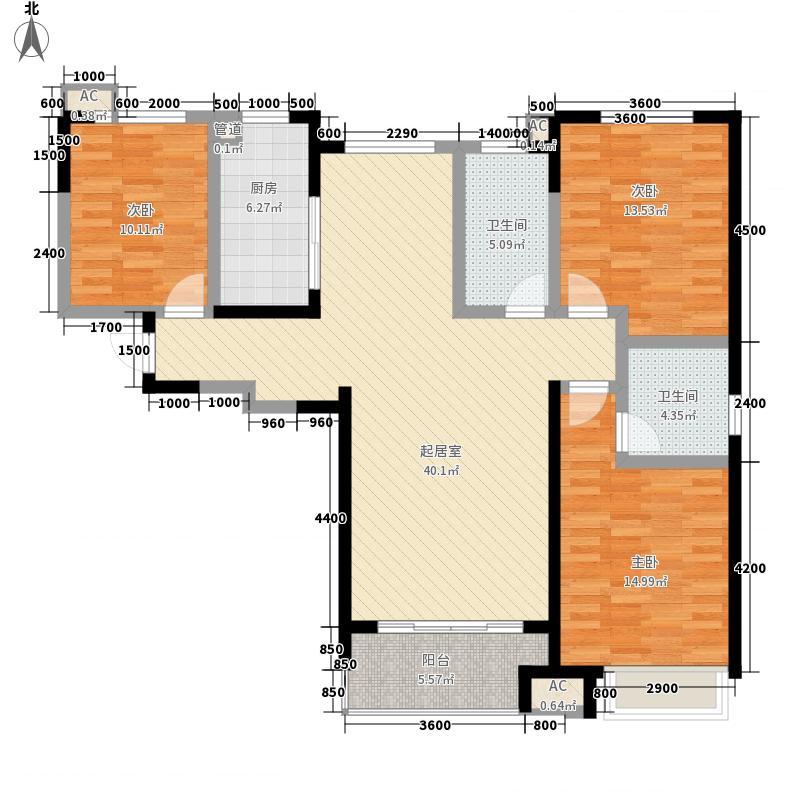 华苑中天二期D户型3室2厅2卫1厨