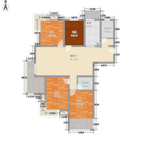 盛世华城4室1厅2卫1厨167.00㎡户型图