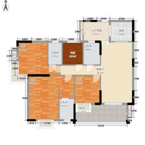 汇侨新城4室1厅3卫1厨137.00㎡户型图