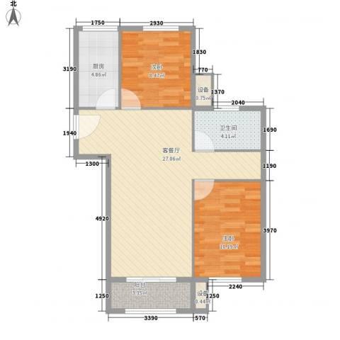 凯瑞国际2室1厅1卫1厨82.00㎡户型图