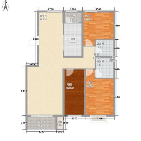金山文汇3室1厅2卫1厨136.00㎡户型图