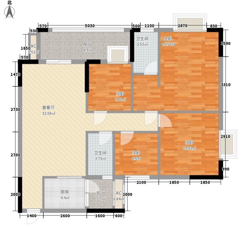 汇侨新城123.20㎡三期22座标准层06户型3室2厅2卫1厨