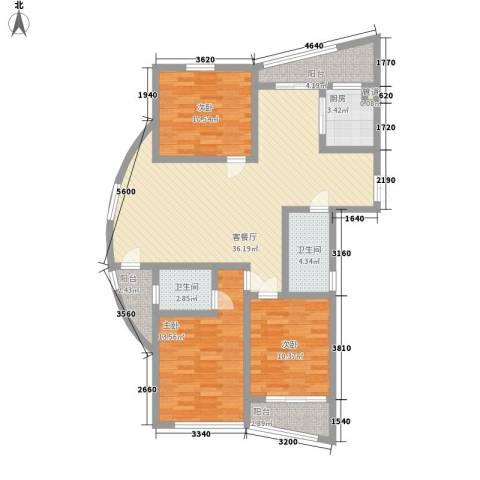 阳湖名城3室1厅2卫1厨134.00㎡户型图