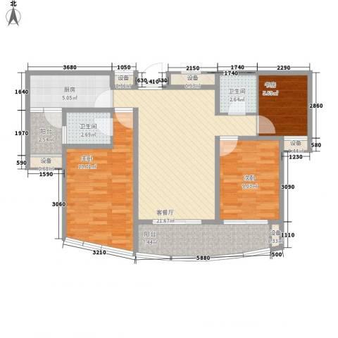 中通翡翠公馆3室1厅2卫1厨84.80㎡户型图