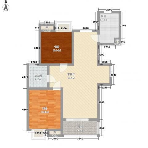 阳湖名城2室1厅1卫1厨104.00㎡户型图