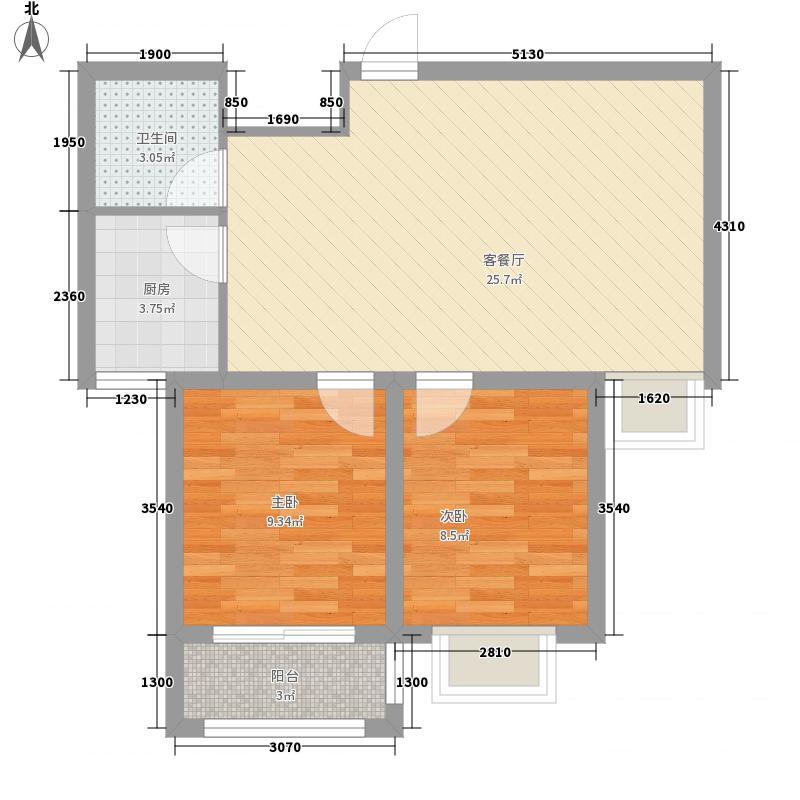 金柱康城76.14㎡H2户型2室2厅1卫1厨