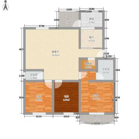 百花园3室2厅2卫1厨125.00㎡户型图