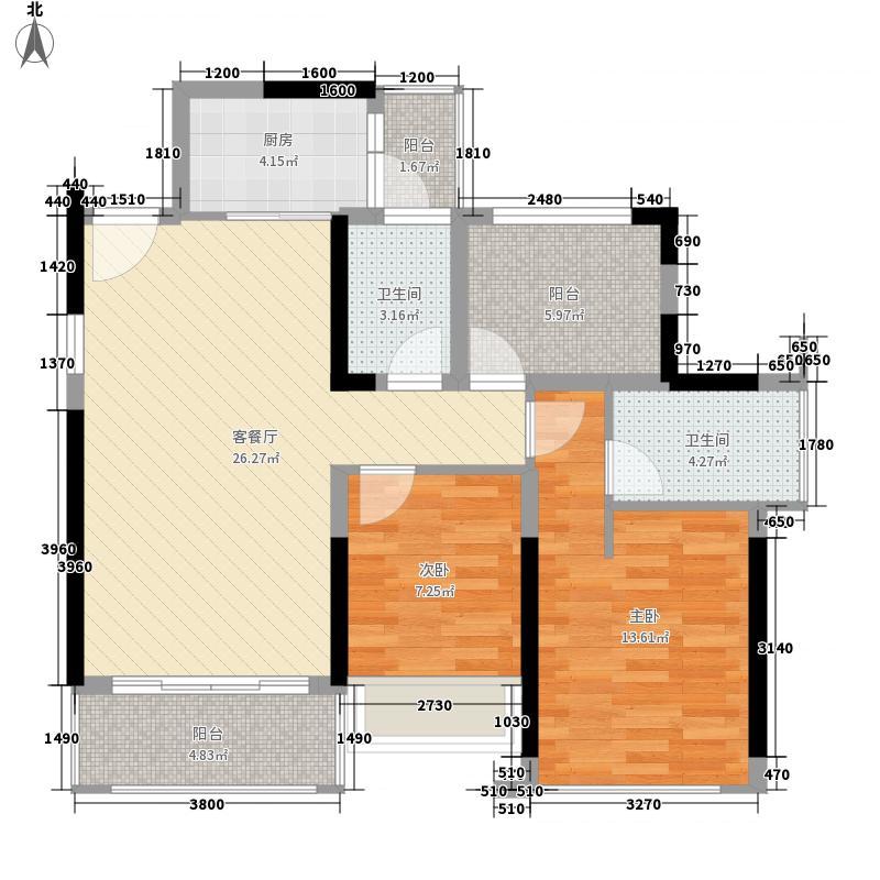 招商果岭花园1、5栋2单元B户型2室2厅2卫1厨