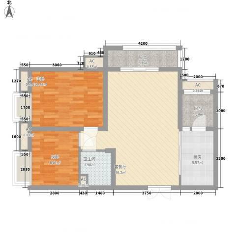 宫园壹号2室1厅1卫1厨91.00㎡户型图