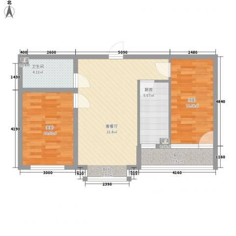 丽景盛园2室1厅1卫1厨85.00㎡户型图