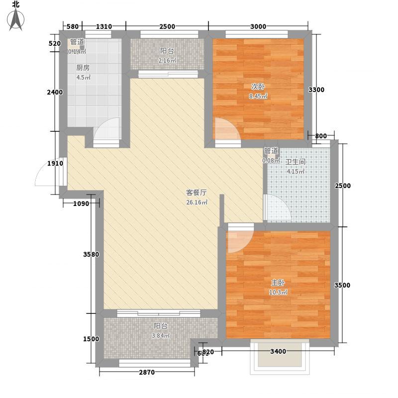 绿地泉景园户型图二期7号楼2单元01室 2室2厅1卫1厨