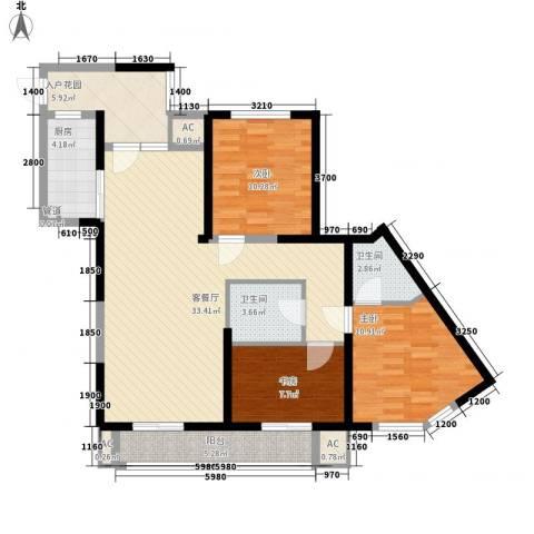 高山流水和城3室1厅2卫1厨126.00㎡户型图