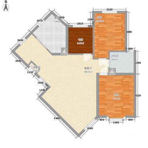宏都筑景3室1厅1卫1厨123.00㎡户型图