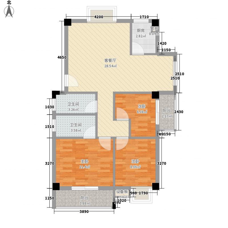 绿洲富城�苑8.84㎡21B楼23#楼户型3室2厅2卫1厨