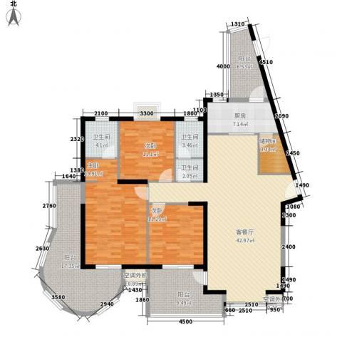 金博水岸3室1厅3卫1厨161.00㎡户型图