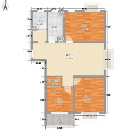 东海精工社3室1厅1卫1厨121.00㎡户型图