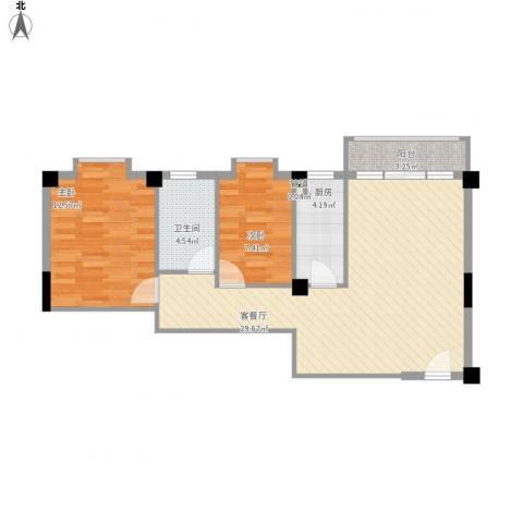 蓝月湾三期2室1厅1卫1厨86.00㎡户型图