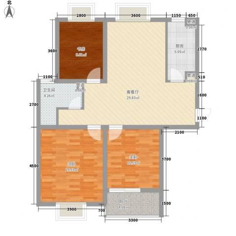 东海精工社3室1厅1卫1厨113.00㎡户型图