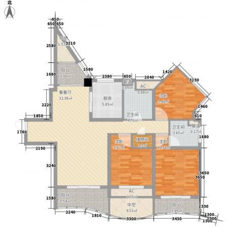 康桥水都3室1厅2卫1厨145.00㎡户型图