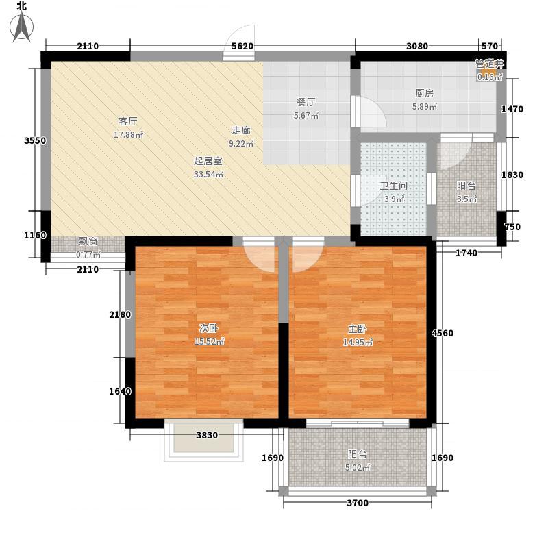 凤翔馨城94.00㎡5#楼S6户型2室2厅1卫
