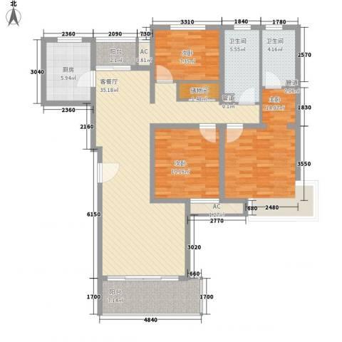 康桥水都3室1厅2卫1厨138.00㎡户型图