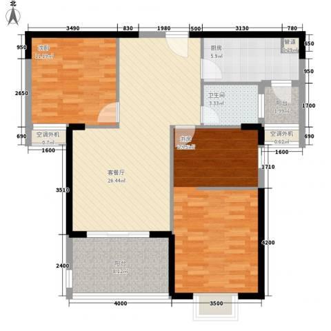金博水岸2室1厅1卫1厨79.42㎡户型图