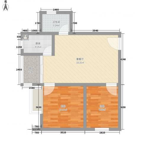 瓦窑排村委统建楼2室1厅1卫1厨75.00㎡户型图