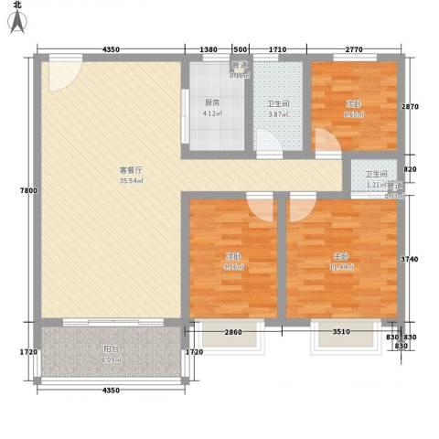 瓦窑排村委统建楼3室1厅2卫1厨114.00㎡户型图
