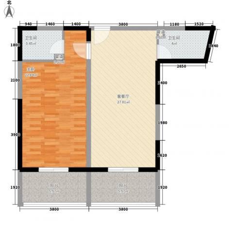 金博水岸1室1厅2卫0厨99.00㎡户型图