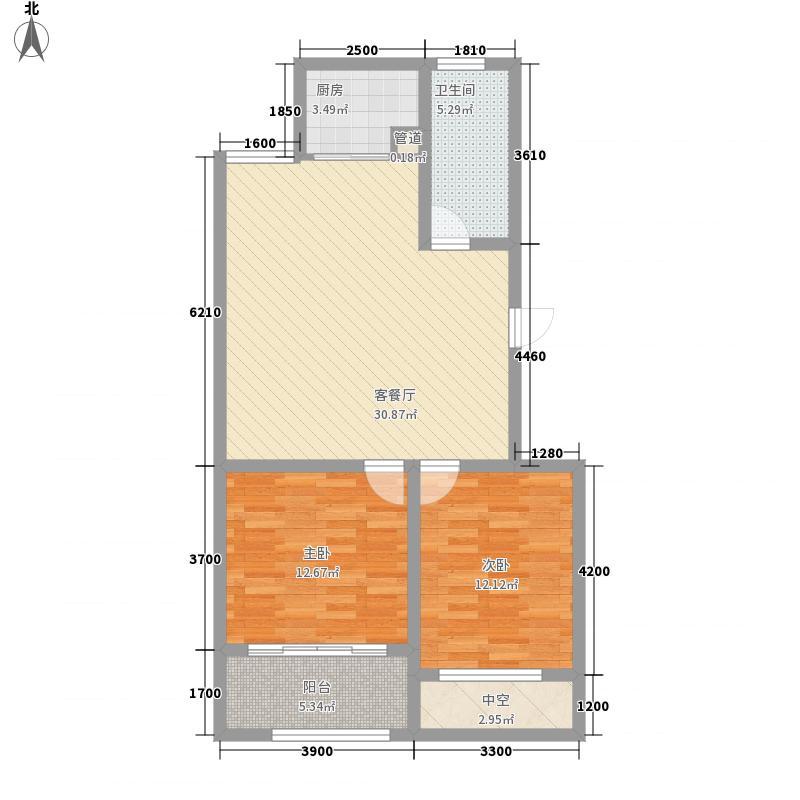 和谐家园整体开发高层B14户型2室1厅1卫1厨