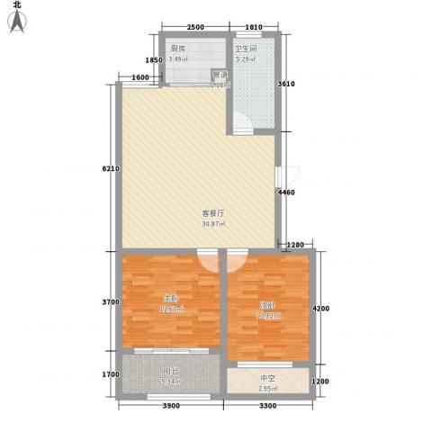 和谐家园2室1厅1卫1厨72.91㎡户型图