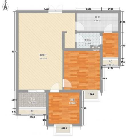 宫园壹号2室1厅1卫1厨96.00㎡户型图