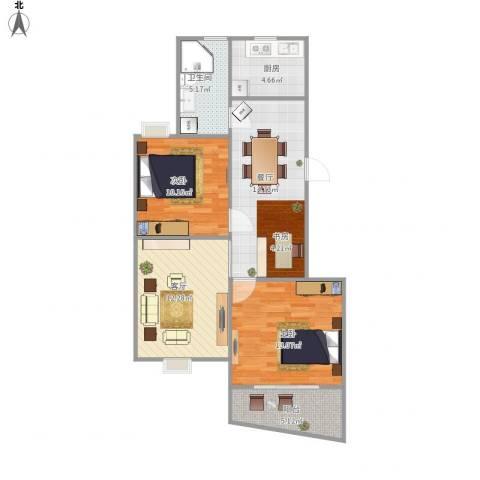 天地新城2室2厅1卫1厨88.00㎡户型图